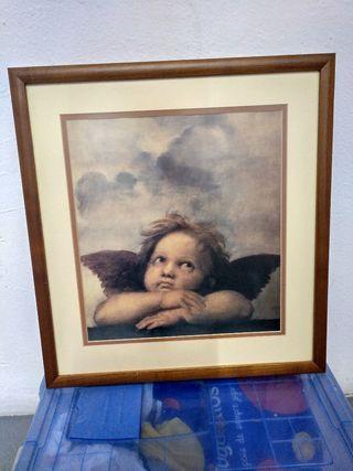 cuadro religioso angel del pintor rafael , 46x43x1