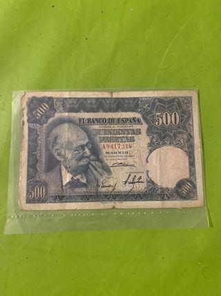 Billete de 500 pesetas de 1951