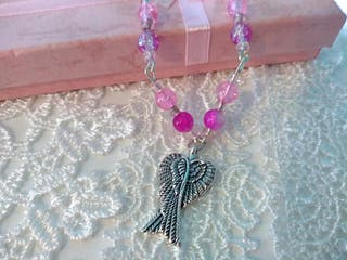 Hand made pink themed necklace