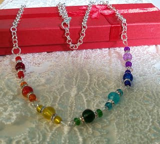 Rainbow coloured necklace