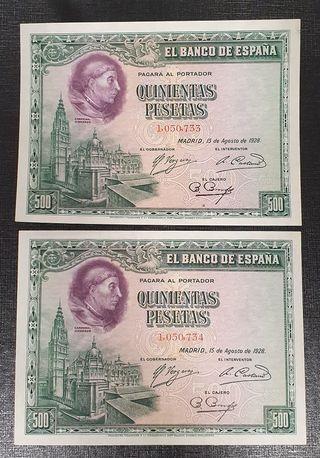 PAREJA 500 PESETAS 1928