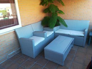 Conjunto sillones + sofá + mesa terraza jardín