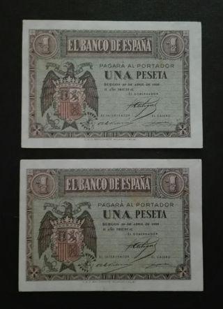 Billetes 1 peseta de 1938