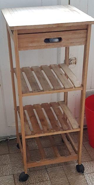 Mesa auxiliar madera con ruedas cajón y estantes
