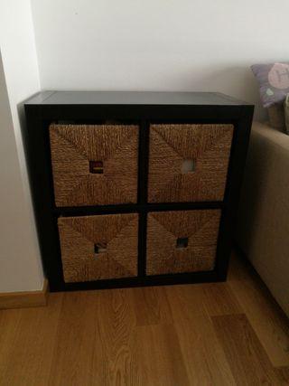 Oferta.estantería kallax con cajas Junco ikea