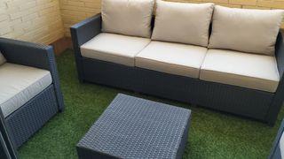 Muebles ratán jardín 5-6 plazas y mesa