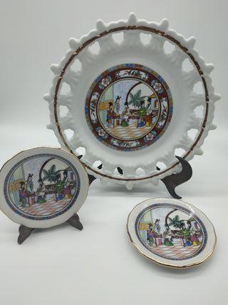Juego de 3 platos (motivo orientales)