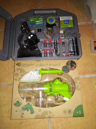 microscopio y recolector de insectos
