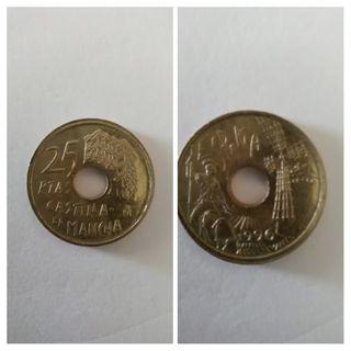 Moneda 25 pesetas 1996 Castilla La Mancha.