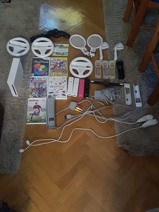 Wii con accesorios y juegos