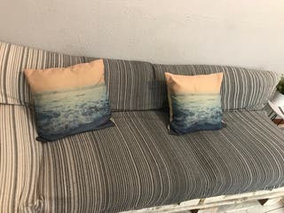 Cobertor sofa/cama gris+Almohadones