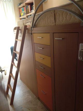 Cama juvenil kibuc con armarios y cajones debajo