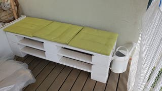 sofa, banco blanco de palets