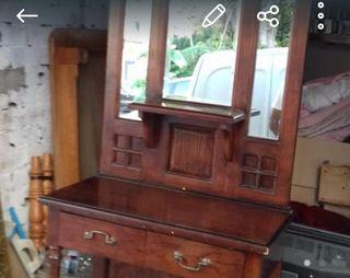 Mueble entrada de madera de roble con dos cajones