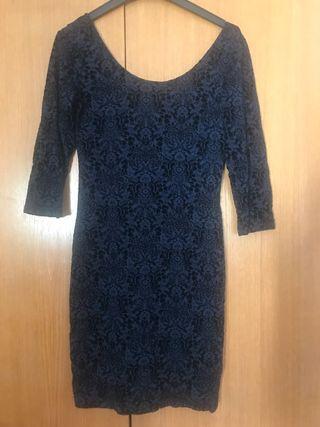 Vestido azul de vestir aterciopelado