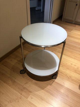 Mesa auxiliar de cristal blanco y dos alturas