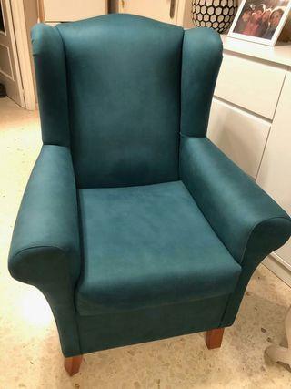 sillón orejero azul antimanchas nuevo