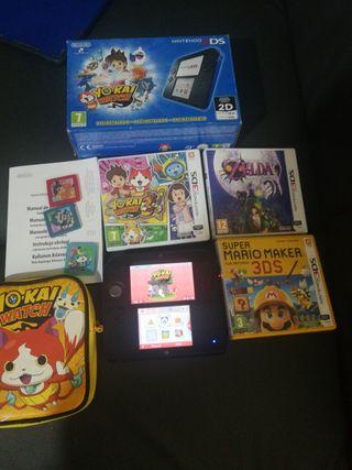 Pack Nintendo 2ds con estuche y 4 juegos