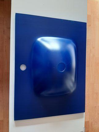 lavabo de cristal azul seminuevo
