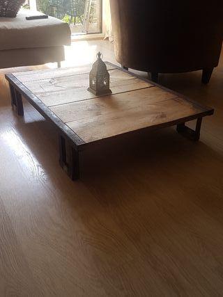 mesita auxiliar madera de andamio