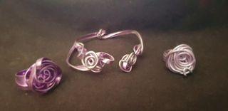 Pulsera y 2 anillos artesanales