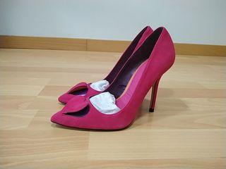 Zapatos de tacón rosa fucsia talla 36, piel
