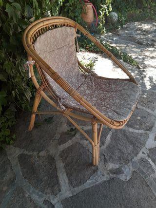 Conjunto 4 Sillas de bambú, huevo, retro