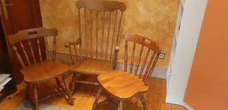 Conjunto de mecedora y dos sillas