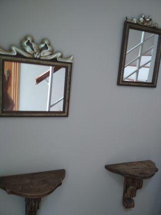 2 espejos y 2 pedestales