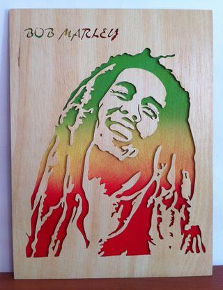 Bob marley cuadro de madera calado con sierra
