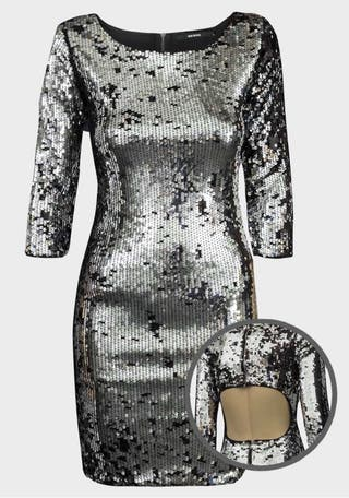 Ladies Cut-Out Back Sequin Bodycon Dress