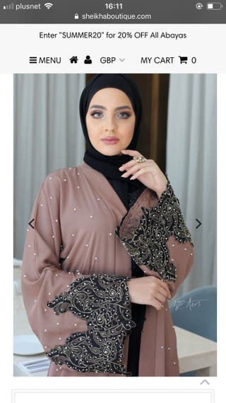 Pastel pink pearl abaya - new size 54