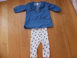 Conjunto vestido y mallas bebe niña (H&M 4-6m)