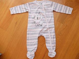 Pijama bebe niña a rayas rosa y gris (BOBOLI 6m)