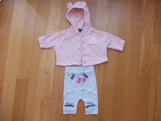 Conjunto chaqueta y pantalón bebe niña (KIABI 3m)