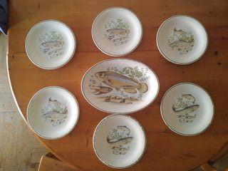 Vajilla y fuente porcelana San Claudio Pesca