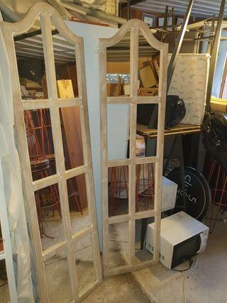 2 espejos madera cuarterones