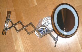 Espejo de aumento extensible de baño con luz