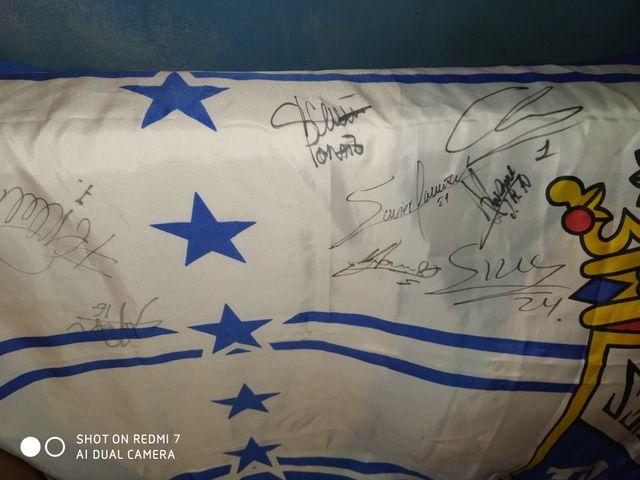 bandera fútbol xerez firmadas