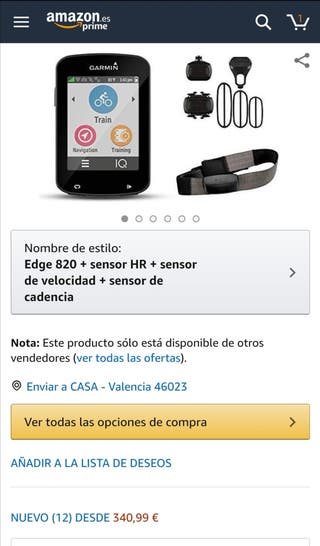 EDGE 820 GPS GARMIN pack sensores full NUEVO