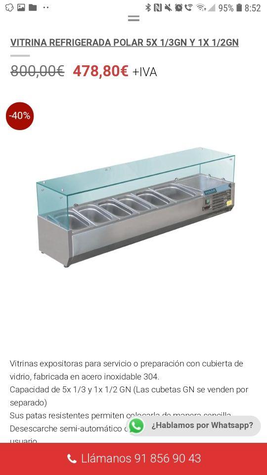 Vitrina Refrigerada polar 5x 1/3 GN
