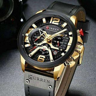 Reloj hombre curren negro dorado cronógrafo deportivo NUEVOS Rf: 257