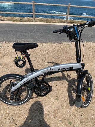 Bicicleta Kawasaki eléctrica 250 w, 7 velocidades