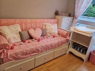 Diván, colchones, espuma sofá, fundas y cortinas