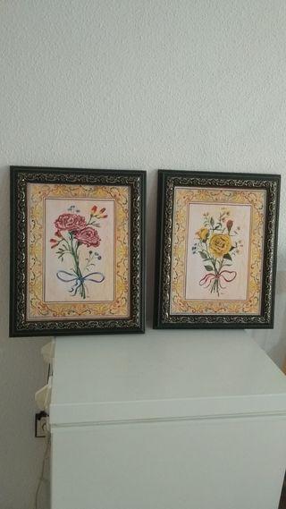 2 cuadros, lámina de Flores