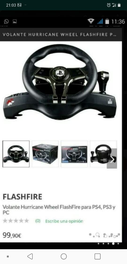 Volante WH-3103V HURRICANE Wheel Flashfire PS4 PC de segunda