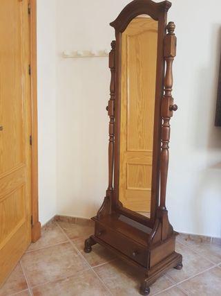 espejo de pié de madera