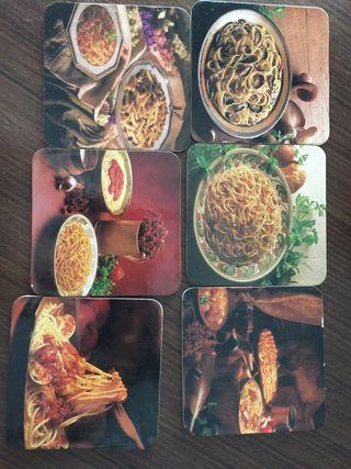 6 posavasos con recetas al reverso