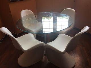 Mesa y sillas cocina comedor cristal