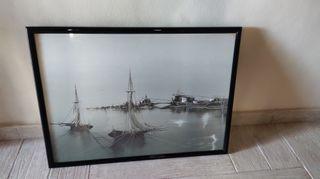 Cuadro litografía pesquero